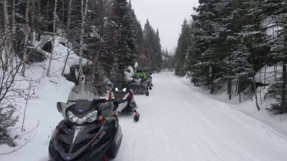 Snowmobiles Lined Up